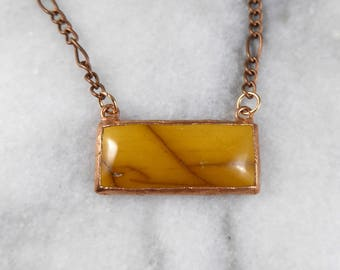 Mookaite Bar Necklace | Mookaite Necklace | Electroformed Necklace | Copper Jewelry | Mookaite | Yellow Necklace