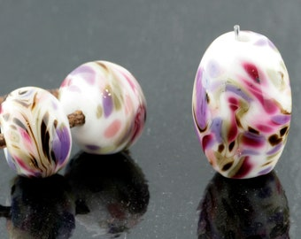 Poppies Focal and Matching Pair Handmade Glass Lampwork Beads (3 Count) by Pink Beach Studios - SRA (1716)