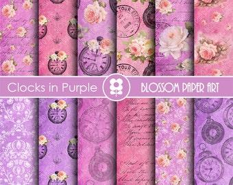 Purple Digital Paper Vintage Roses Digital Paper Plum Scrapbook Paper Pack, Scrapbooking, Roses in Plum - INSTANT DOWNLOAD  - 1810