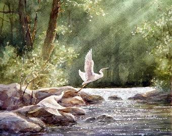 Egrets flying - Wildlife Art Print of Watercolor Painting - Birds, Egrets, Trees, Lake, Sunrise