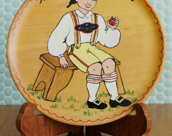 Hand-painted folk art plate - wooden - Austrian - Welcome to our Home!