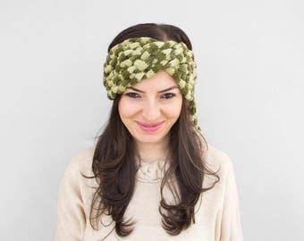 Knitting Scarf Necklace -Green Loop Scarf - Infinity Scarf - Green Neckwarmer - Knit Pom Pom Scarf, ready to ship
