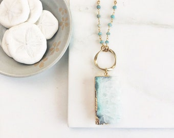 Long Aqua Geode Necklace in Gold. Long Boho Necklace. Long Stone Necklace. Bohemian Jewelry.