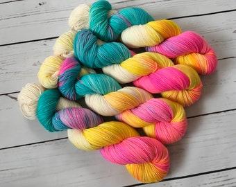 Enchanting Unicorn Hand Dyed Superwash BFL/ Nylon Sock Yarn