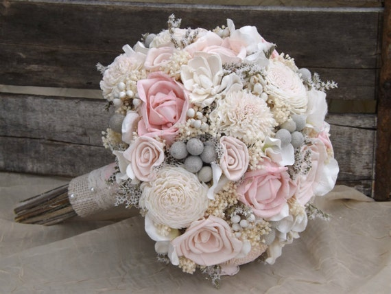 Sola Bouquet Pink Roses Blush Pink with Dried Flowers Silver