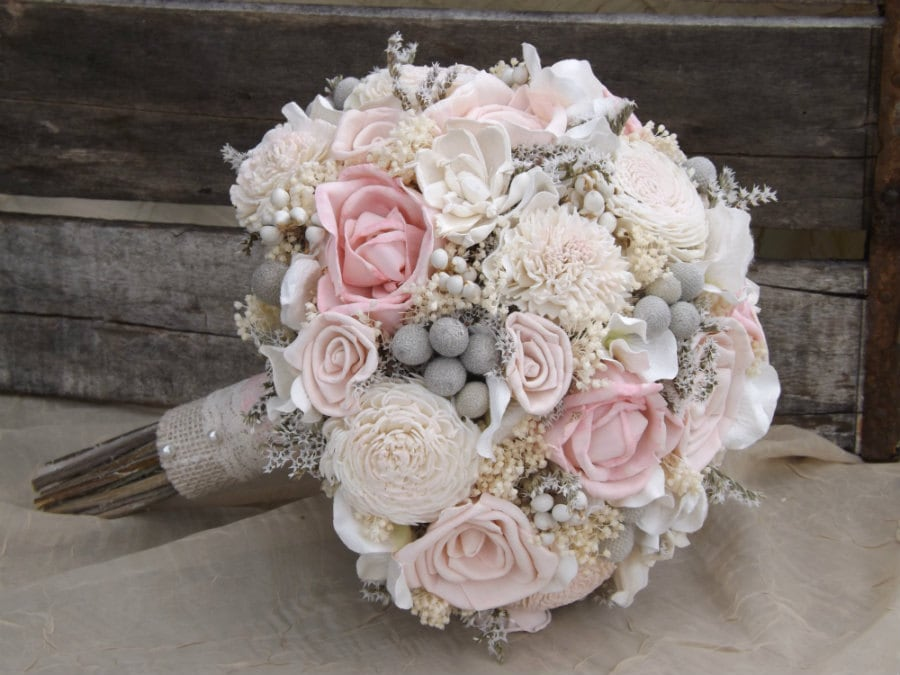 Sola Bouquet Pink Roses Blush With Dried Flowers Silver