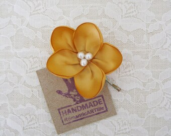 Dark Gold Flower Hair Pin. Dark Gold Flower Hair Accessory. Bridesmaid Gold Hair Piece.