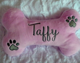 """Dog Bone - Embroidered Bone - Double Squeaker Dog Toys - Personalized with Name and Birthdate or Gotcha Date  - 6"""" , 10"""" or 12"""""""