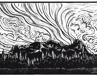 Wind Over Ha Ling | Linocut Relief Print, Hand Pulled Fine Art, Limited Edition, Printmaking