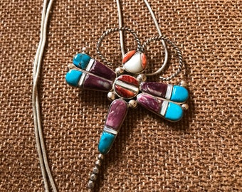 Vintage Native American Dragonfly Turquoise Sterling Silver Necklace