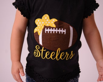 Baby or Girls Football Shirt Sizes 3 Months to XL 14-- Girls Football Shirt -- Any colors