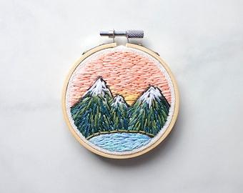 """Mini Sunset Mountain 3"""" Embroidery Hoop Art"""