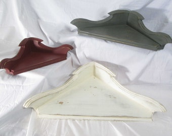 Set of Three Hanging Corner Shelves, Descending Sizes ~ Painted