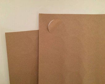 1 1/2 inch round Ribbed Kraft brown blank labels 175 pcs