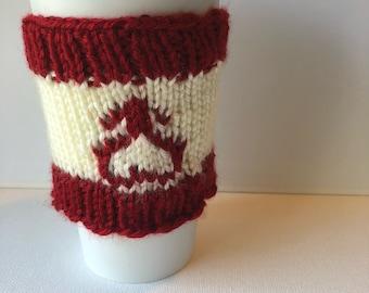 Sailor Mars inspired coffee mug cozy - hand knit reusable travel mug sleeve