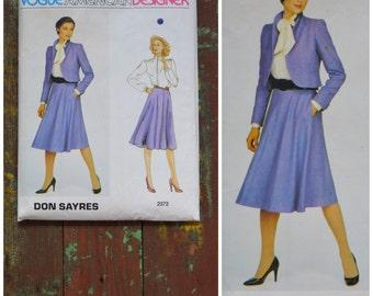 Vintage pattern, 1980's Vogue American Designer, Don Sayer, Printed pattern 2372, Misses jacket, skirt, blouse, Sewing supplies, Bust 92cm