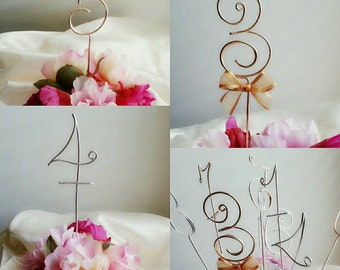 Wedding reception wire table number/ rustic wedding decoration/ wire wedding number / Party table number
