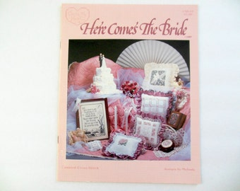 Here Comes the Bride Wedding Cross Stitch Pattern book Doves Pillow Picture