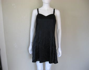 90s black Satin Dress - LARGE