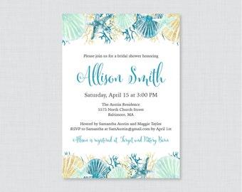 Bridal Shower Invitation Printable or Printed - Beach Themed Bridal Shower Invites - Blue, Aqua and Gold Nautical Bridal Invitations 0012-B
