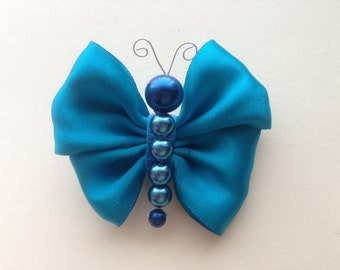 Turquoise Satin Ribbon Butterfly Hair Clip/ Hair Bow