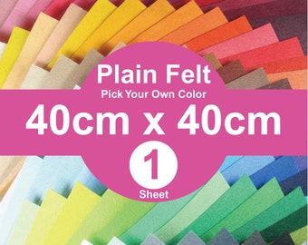 1 Plain Felt Sheet - 40cm x 40cm per sheet - pick your own color (A40x40)