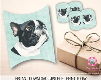 Printable Frenchie Watercolor Pillow Box - Pillow Box Frenchie - JPG File - Printable Pillow Box