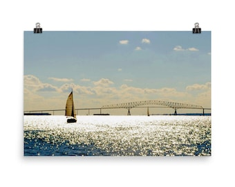 Limited Edition, Sailing, Key Bridge,  Fort McHenry,  Baltimore, Maryland, Museum Quality Poster Print
