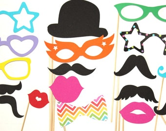 20 Photo Booth Props, Rainbow