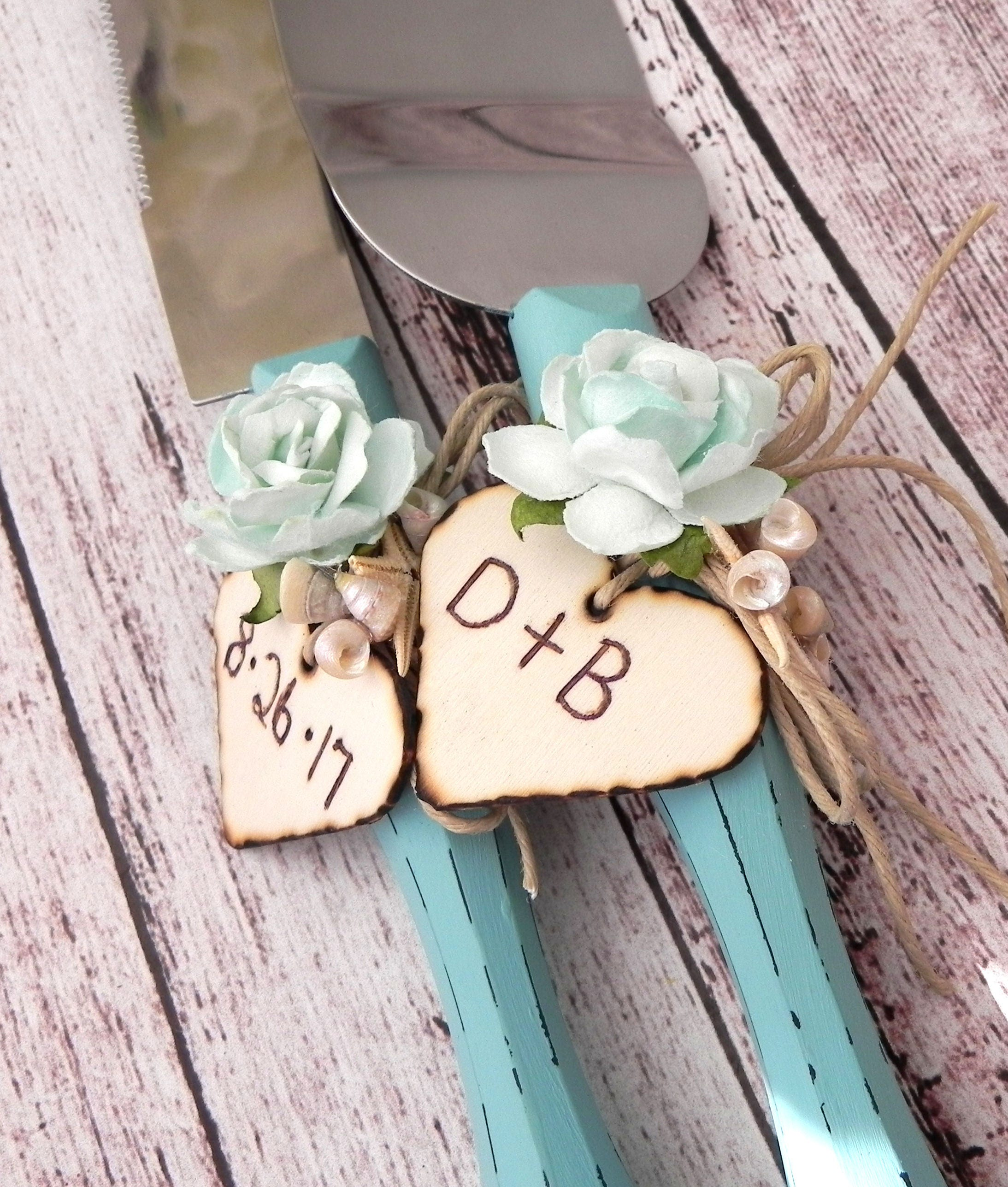 Aqua And Mint Wedding Cake Server And Knife Set With Personalized