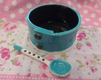 Handmade Pottery Salt Cellar with Spoon Made in UK Ceramic Salt Server - Aqua Blue with Black