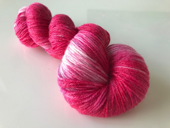 Hand dyed super wash Merino and bamboo sock yarn 'Pink, purple and white'