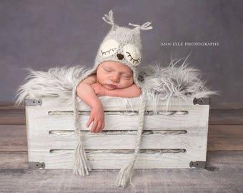Newborn owl - Owl boys hat - Photo prop hat - Newborn props - Baby boy props - Photo prop owl - Baby boy props - Photo hat - Light brown