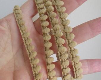 5 yards (4.5 meters) Baby Pom Pom Ball Fringe passementerie braid. BEIGE. 6/16 inch (7mm). 850-299