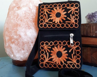 Handcrafted Kashmir Boho Chic Suede Leather Passport Style Crossbody Purse in Black