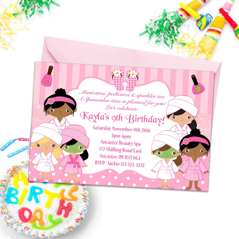 Spa Party Invitations Girls Party Invites Kids Birthday