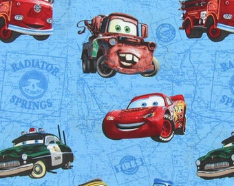 Disney Cars Fabric By the Yard or Half Yard Boy Blue Car Fabric Cotton Quilting Fabric t6/23
