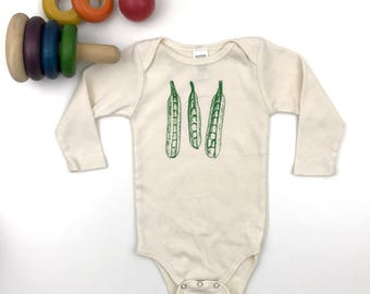 Peapod Long sleeve Bodysuit - Organic Cotton Natural Onepiece - hand screen printed - made in America