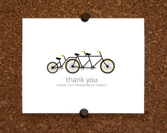 Bicycle Baby Thank You Cards. Baby Shower Stationery. Baby Thank Yous. Bicycle Built for Three (Set of 10)