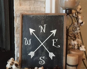 Compass 12x16, More Sizes & Colors - Wood Sign - North, South, East, West - Farmhouse decor, Rustic