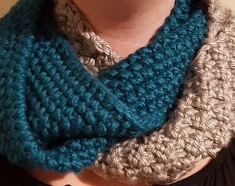Teal and Gray Infinity Scarf