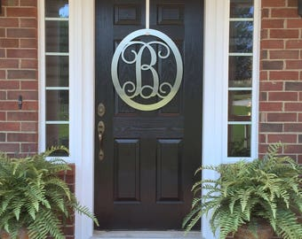 CLASSY CLASSIC:  Metal Monogram Door Wreath, Monogram Door Hanger, Front Door WREATHS,  Front Door Decor, Year Round Wreaths, Oval Monogram