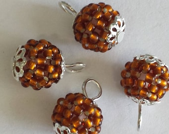 4 pendants seed beads (2.5 mm) silver lined Brown