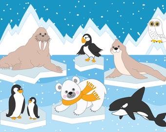 Arctic Animals Clipart - Digital Vector Arctic, Winter, Ice, Owl, Polar Animals Clip Art
