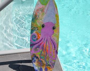 Hand Painted Squid Wooden Surfboard Art