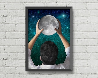 Reach for the moon,digital print,poster,art,inspiration,home decor,moon,stars,space,galaxy,night