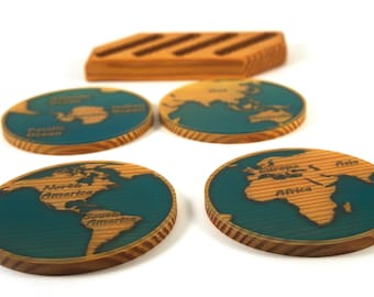 World Map Coasters, Glow in the dark, Housewarming Gift, Gift for Him, Gift for Her