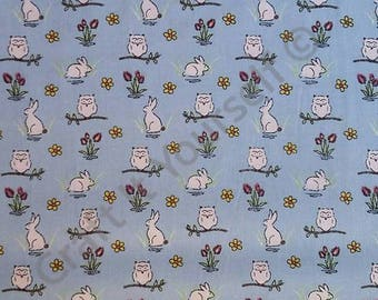 Blue owl and rabbit 100% cotton fabric 44 inch / 110cm