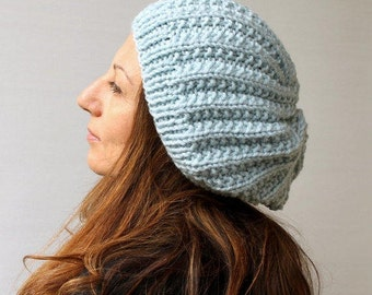 Clothing Gift. Women's Knit Hat Winter Hat Slouchy Beanie Hat - Shimmery  Blue Beret / Chunky  /Baggy / Beanie