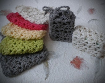 100% Cotton Hand crocheted Soap Saver / Soap Bag